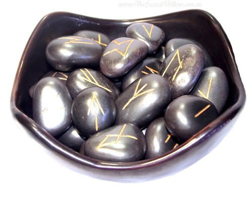 Hematite Gemstone Rune Set