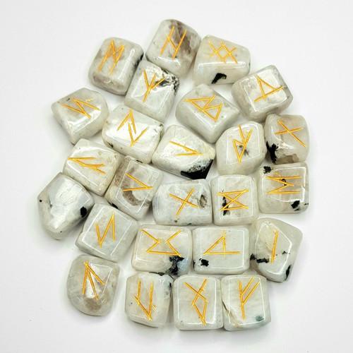 White Rainbow Moonstone Gemstone Rune Set