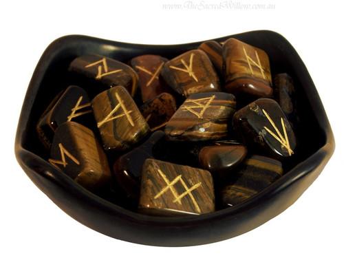 Tiger Eye Gemstone Rune Set