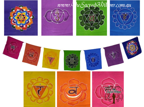 XLarge Hand Painted Chakra Flags