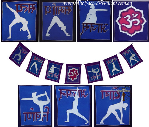 X LARGE Hand Painted Path of Yoga  Flags