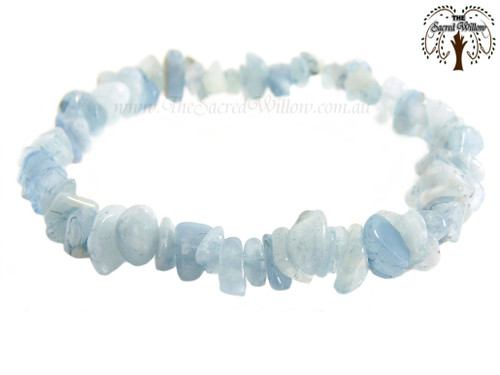 Aquamarine Gemstone Chip Stretch Bracelet AA
