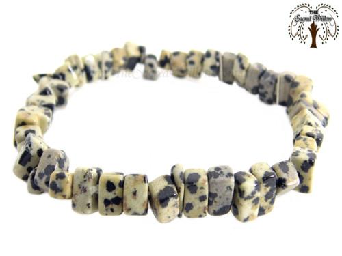 Dalmatian Jasper Gemstone Chip Stretch Bracelet