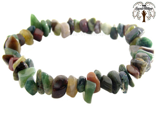Fancy Jasper Gemstone Chip Stretch Bracelet