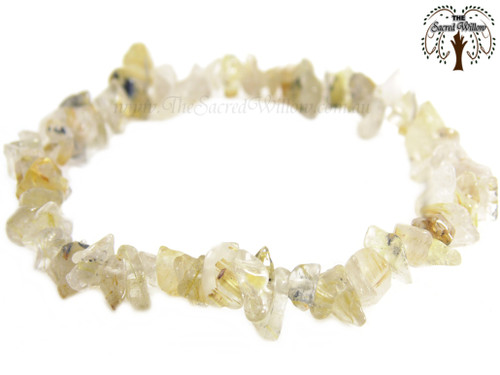 Golden Rutilated Quartz Gemstone Chip Stretch Bracelet