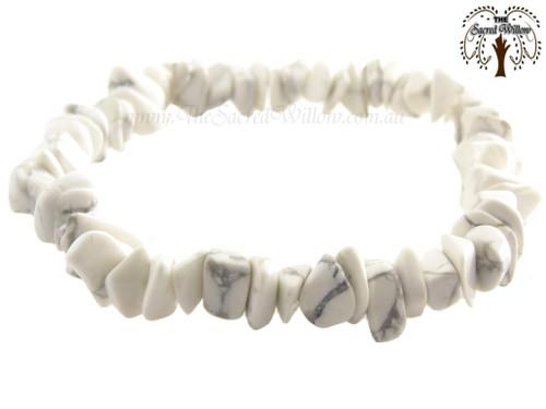 Howlite Gemstone Chip Stretch Bracelet