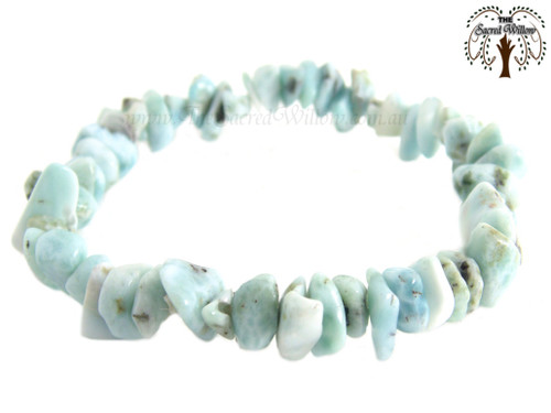 Larimar Gemstone Chip Stretch Bracelet