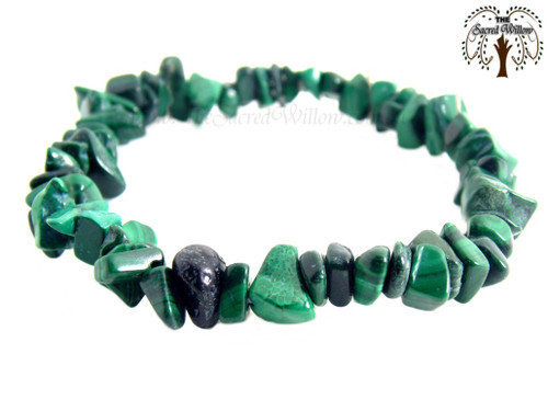 Malachite Gemstone Chip Stretch Bracelet