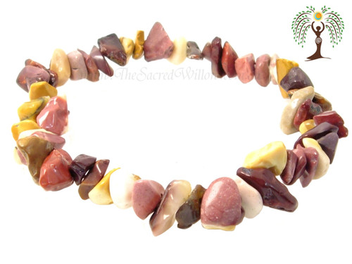 Mookaite Gemstone Chip Stretch Bracelet