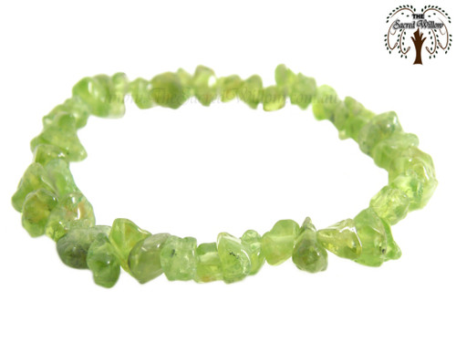 Peridot Gemstone Chip Stretch Bracelet