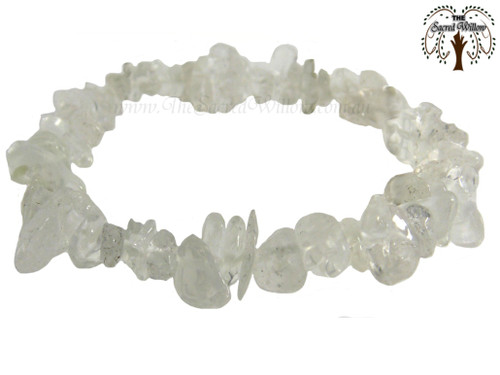 Clear Quartz Gemstone Chip Stretch Bracelet