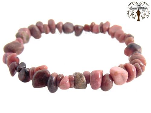 Rhodonite Gemstone Chip Stretch Bracelet