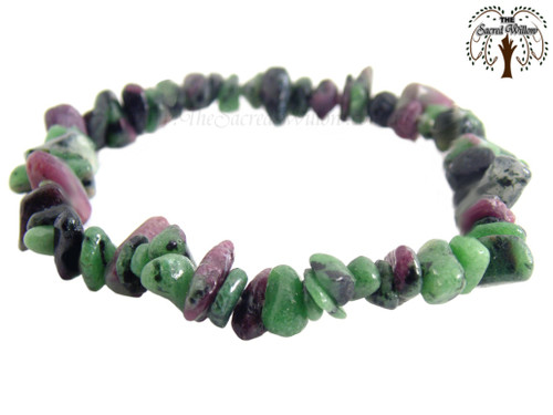 Ruby & Zoisite Gemstone Chip Stretch Bracelet