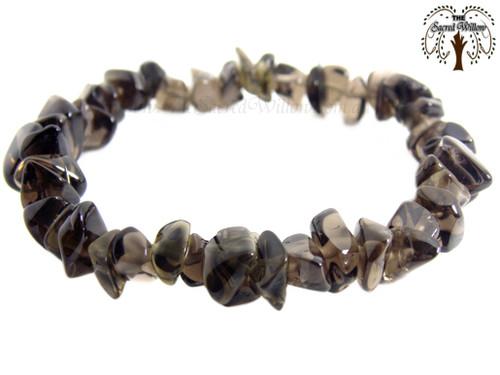 Smokey Quartz Gemstone Chip Stretch Bracelet