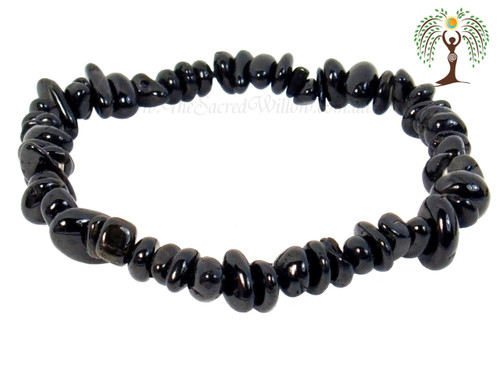 Black Tourmaline Gemstone Chip Stretch Bracelet
