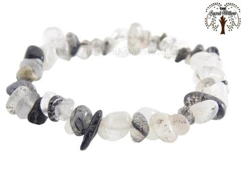 Tourmalinated Quartz Gemstone Chip Stretch Bracelet