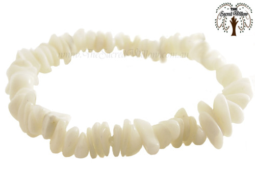 White Jade Gemstone Chip Stretch Bracelet