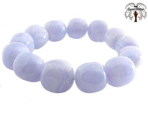 Blue Lace Agate Nugget Stretch Bracelet Tumbled Stones