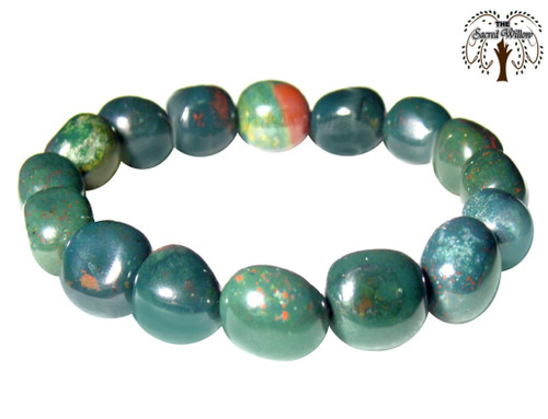 Bloodstone Nugget Stretch Bracelet Tumbled Stones