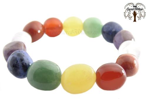 Chakra Nugget Stretch Bracelet Tumbled Stones