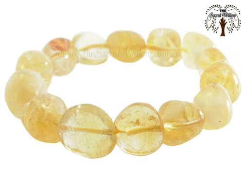 Citrine Nugget Stretch Bracelet Tumbled Stones