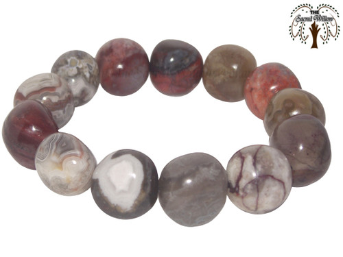 Crazy Lace Agate (Mexico) Nugget Stretch Bracelet Tumbled Stones