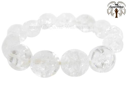 Crackle Quartz Nugget Stretch Bracelet Tumbled Stones