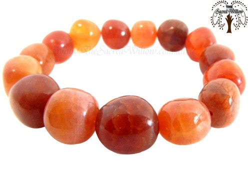 Fire Agate Nugget Stretch Bracelet Tumbled Stones