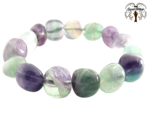 Fluorite Nugget Stretch Bracelet Tumbled Stones