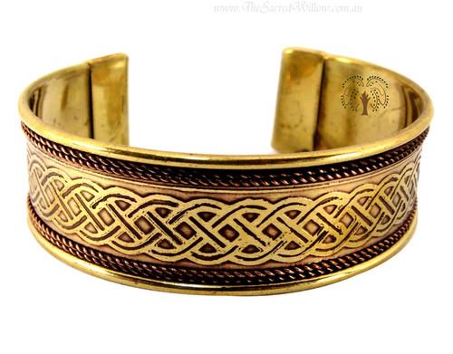 Celtic Knot Copper and Brass Cuff Bracelet