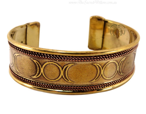 Triple Moon Copper and Brass Cuff Bracelet