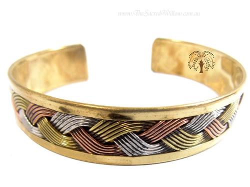 Brass Weave Celtic Knotted Cuff Bracelet