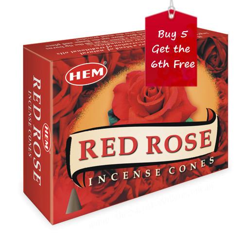 Red Rose Hem Incense Cones