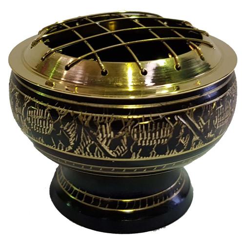 Black Engraved brass incense burner 6cm