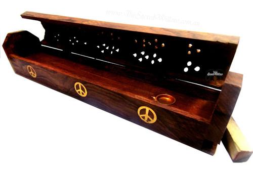"""Peace Wooden Incense Burner 30cm / 12"""""""