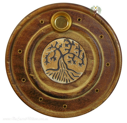 Tree Flat Round Incense & Cone Holder