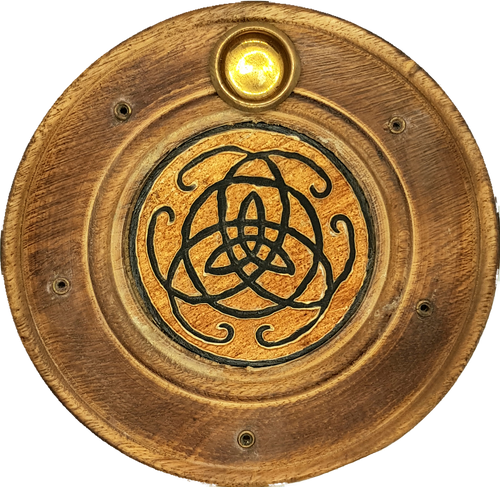 Triquetra Flat Round Plate Incense & Cone Holder