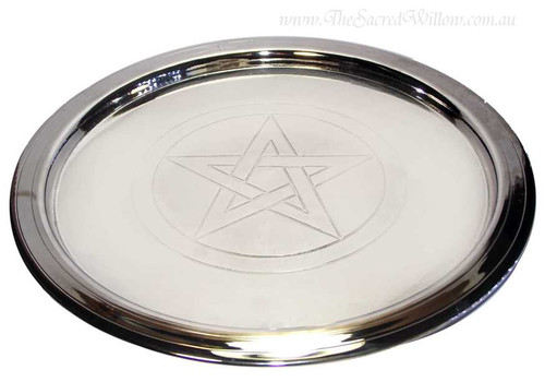 Silver plated Pentagram Plate 8 1/2""