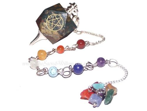 7 Chakra Blood Stone Pentagram Pendulum