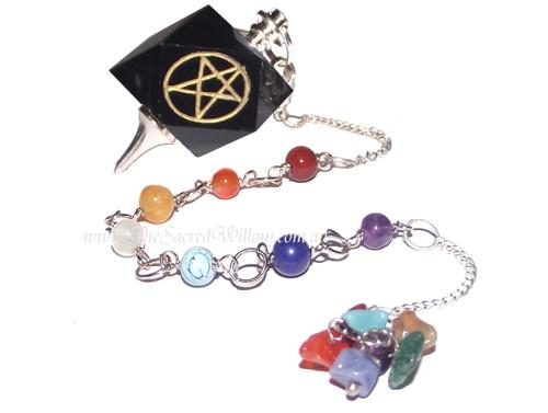 7 Chakra Black Onyx Pentagram Pendulum