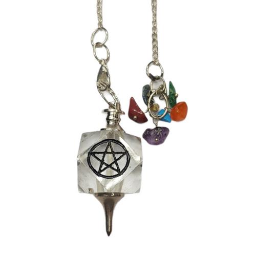 Pendulum 7 Chakra Clear Quartz Pentacle 30cm