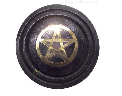 """Black Wooden Pentagram Coaster Gold 3"""""""