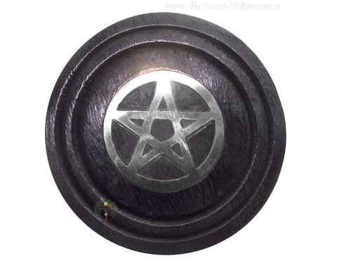 Black Wooden Pentagram Coaster Gold 3""