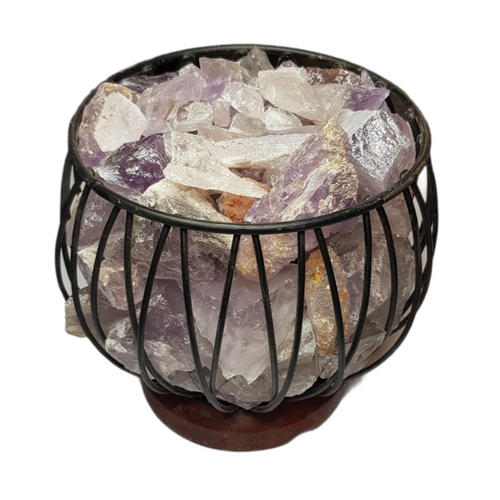 Amethyst and Clear Quartz Crystal Cage Lamp with Electrical Cord - SECONDS