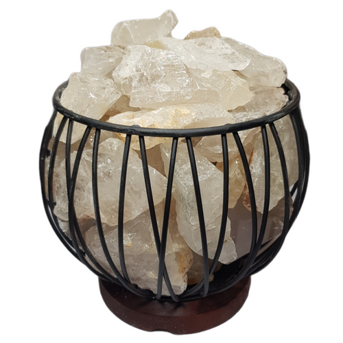 Clear Quartz Crystal Cage Lamp with Electrical Cord - SECONDS