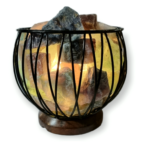 Fluorite Crystal Cage Lamp with Electrical Cord