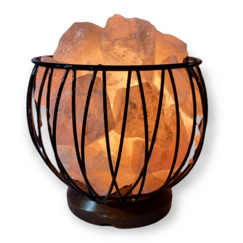 Rose Quartz Crystal Cage Lamp with Electrical Cord