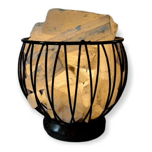 Selenite Crystal Cage Lamp with Electrical Cord