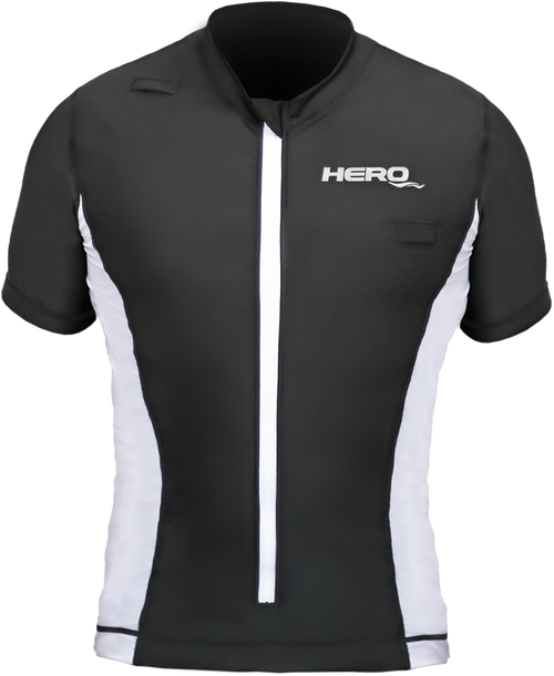 Adult high performance rash guard with inflatable life jacket in one