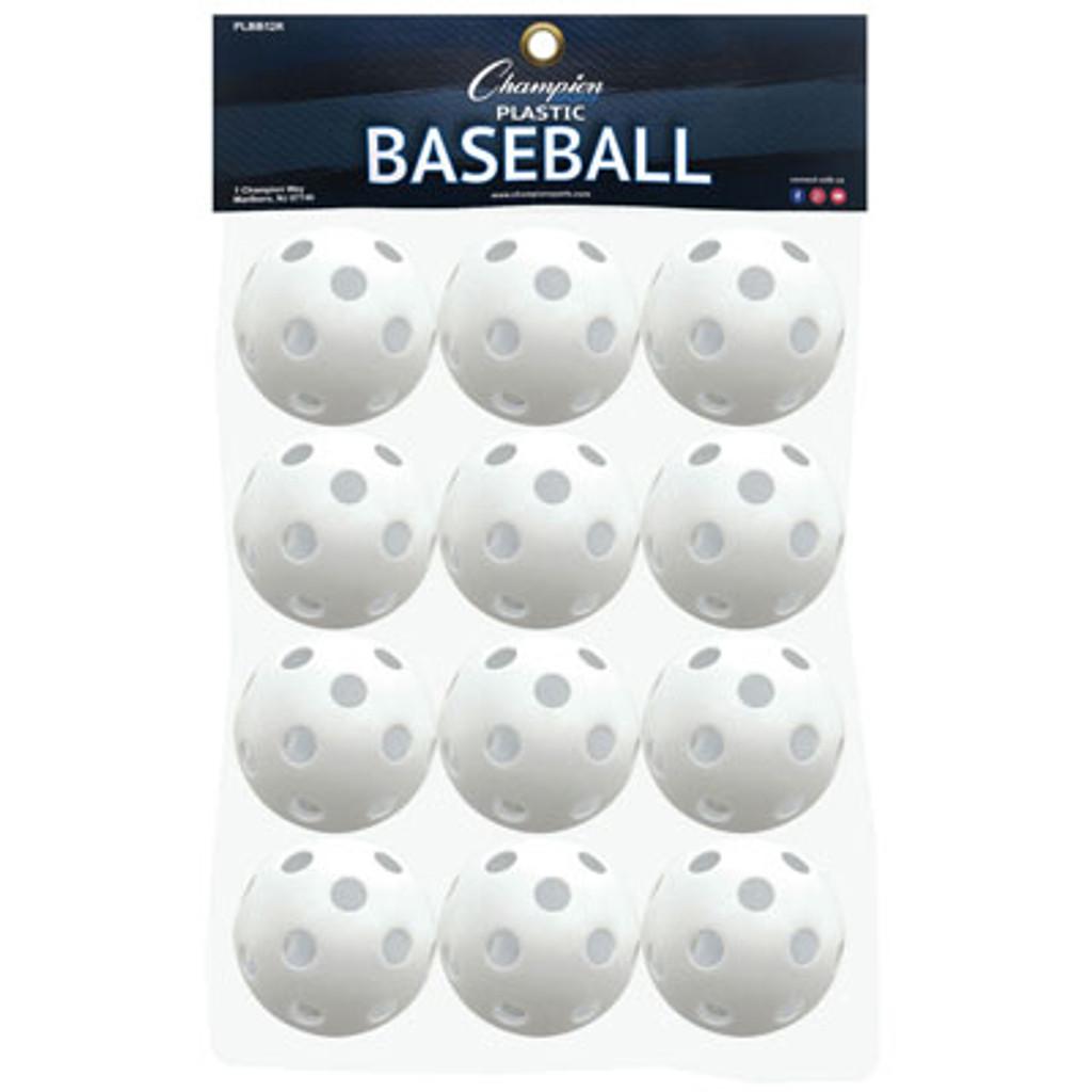 Champion Sports Plastic Whiffle Baseballs- 1 dozen
